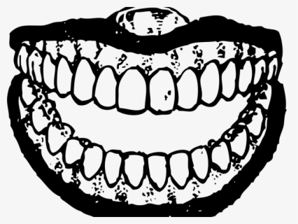 Free Smile Mouth Black And White Clip Art with No Background.