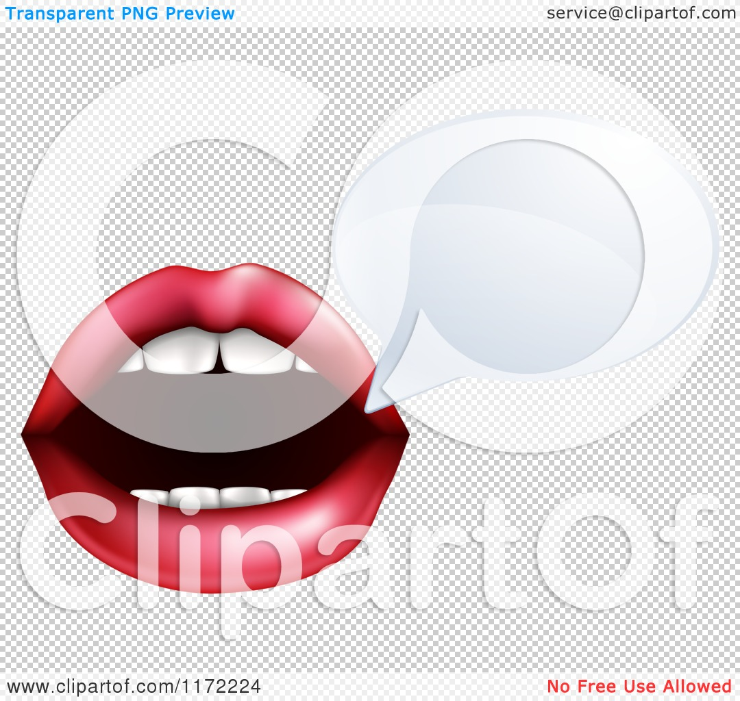 Cartoon of a Talking Mouth with a Speech Bubble.