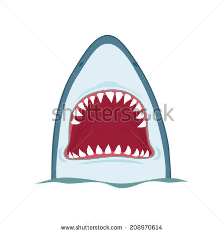 Shark Open Mouth Vector Illustration On Stock Vector 208970614.