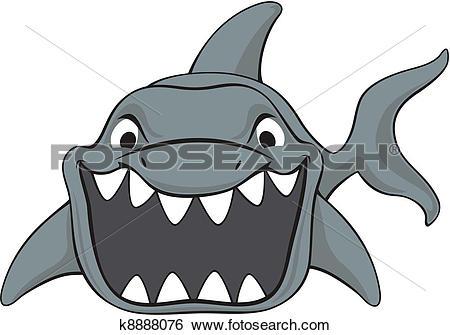 Clip Art of shark attack cartoon k8888076.