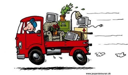 old truck hauling junk clipart.