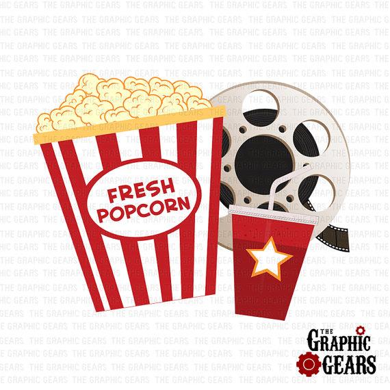 Movie reel and popcorn clipart film reel and soda pop corn mini set.