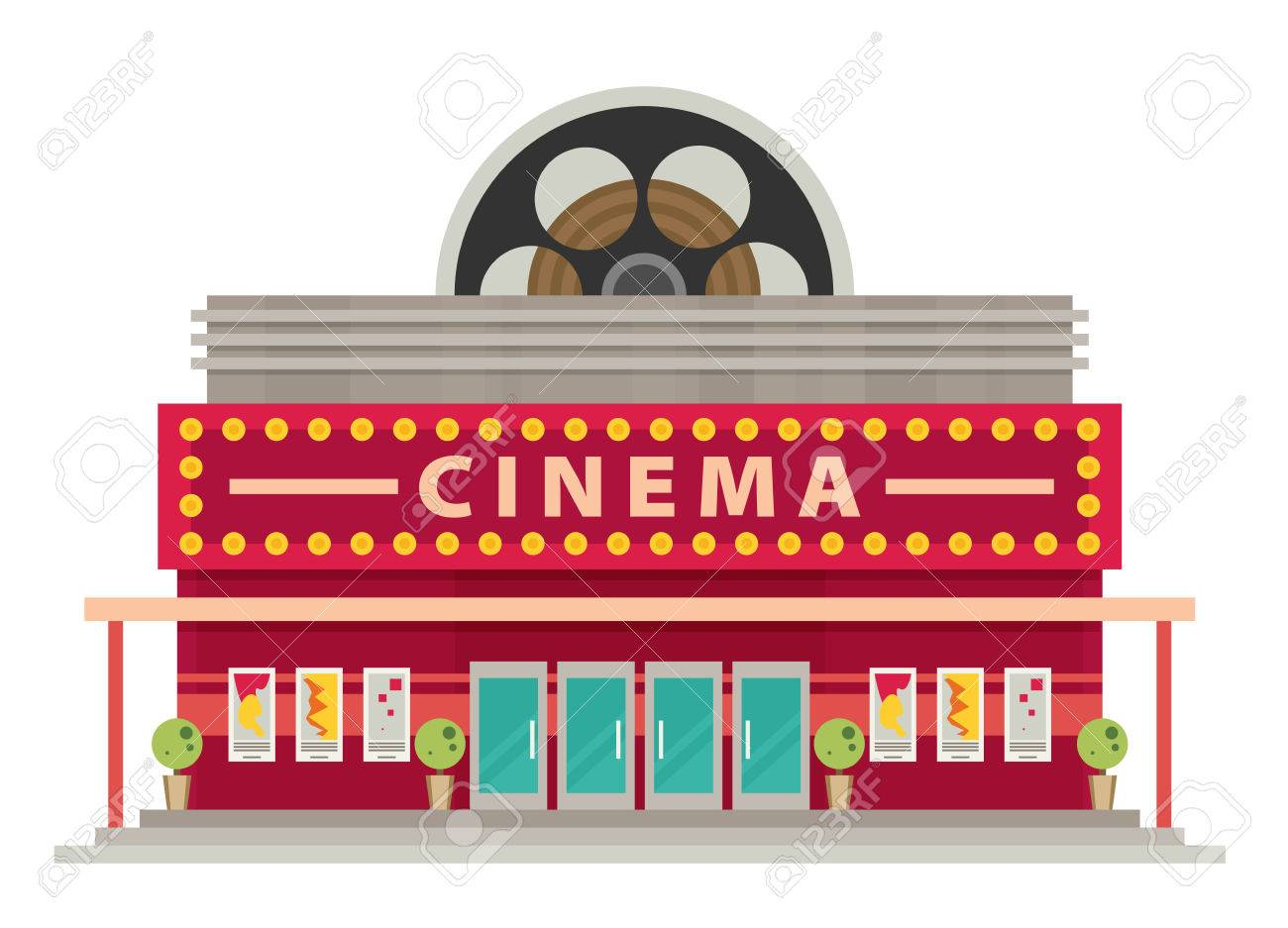 Cinema building flat style. Movie Theater..