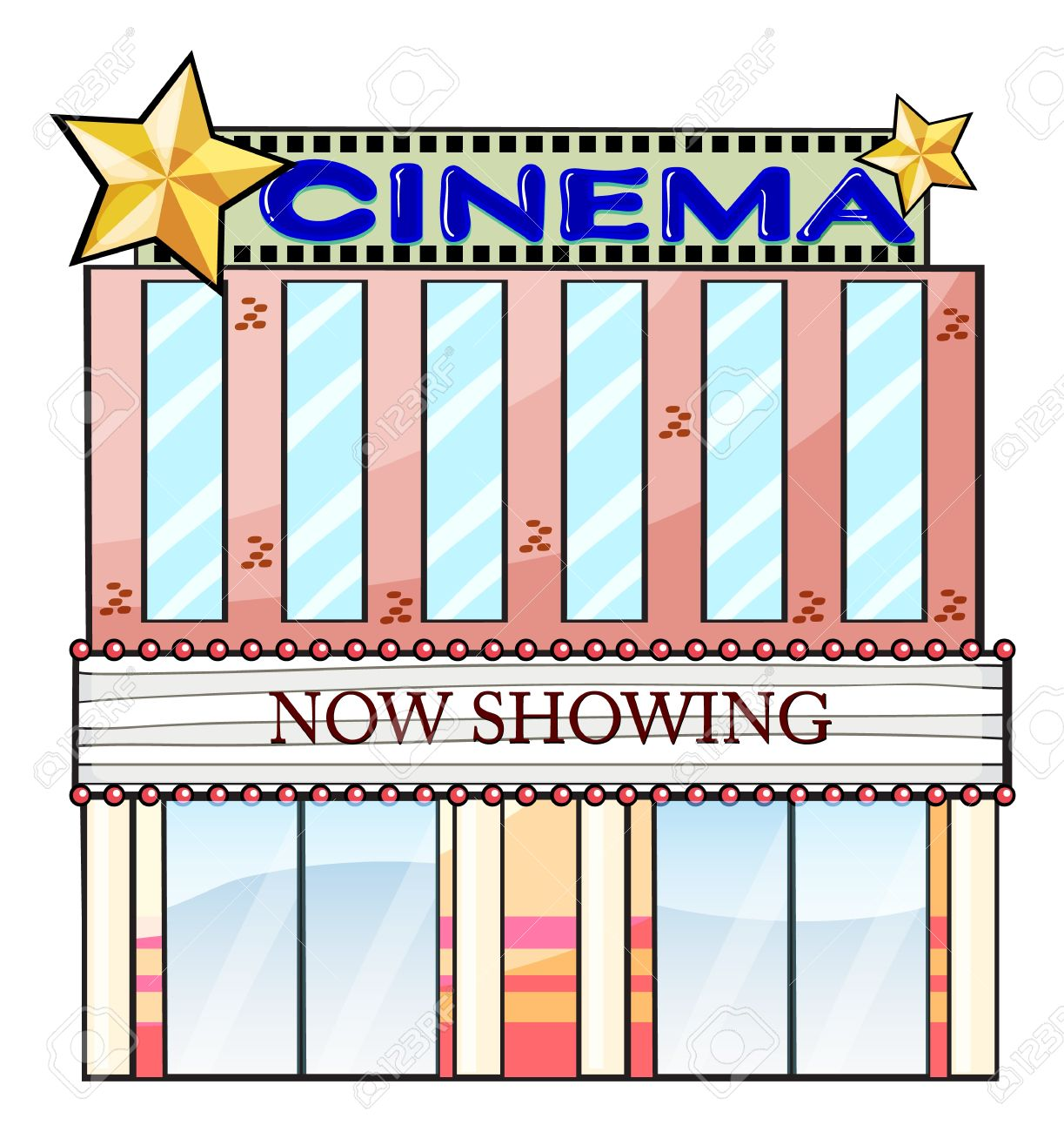 Illustration Of A Cinema Theater Building On A White Background.