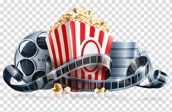 Bucket of popcorn illustration, Popcorn Cinema Film Reel , popcorn.