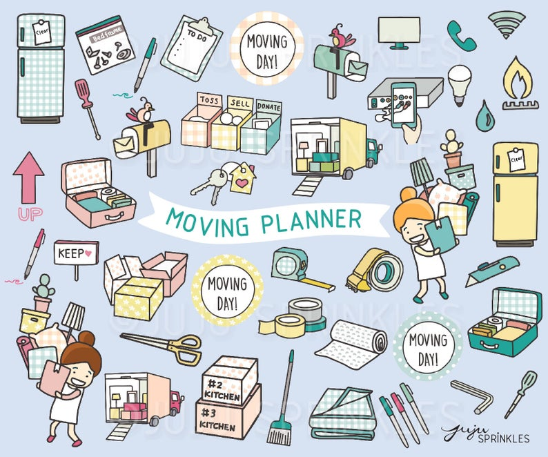 Moving Clipart, Move Day Clipart, Moving Away Clipart, Moving Boxes  Clipart, Moving Planner, Moving Stickers, Instant Download, Packing.