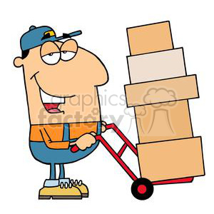 A Guy Moving Boxes With A Red Dolly clipart. Royalty.