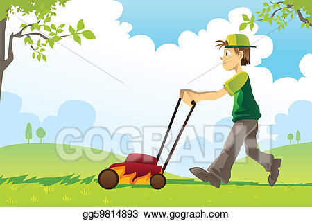 clipart mowing lawn #7