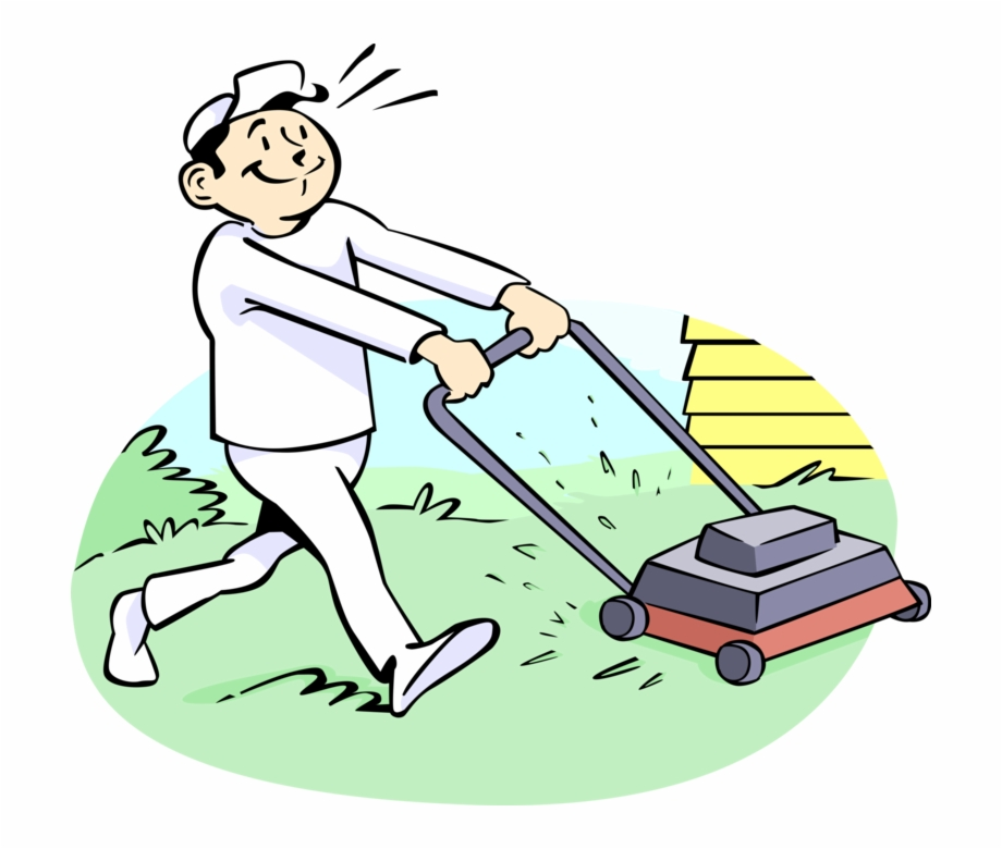 Vector Illustration Of Lawn Care Specialist Cuts The.
