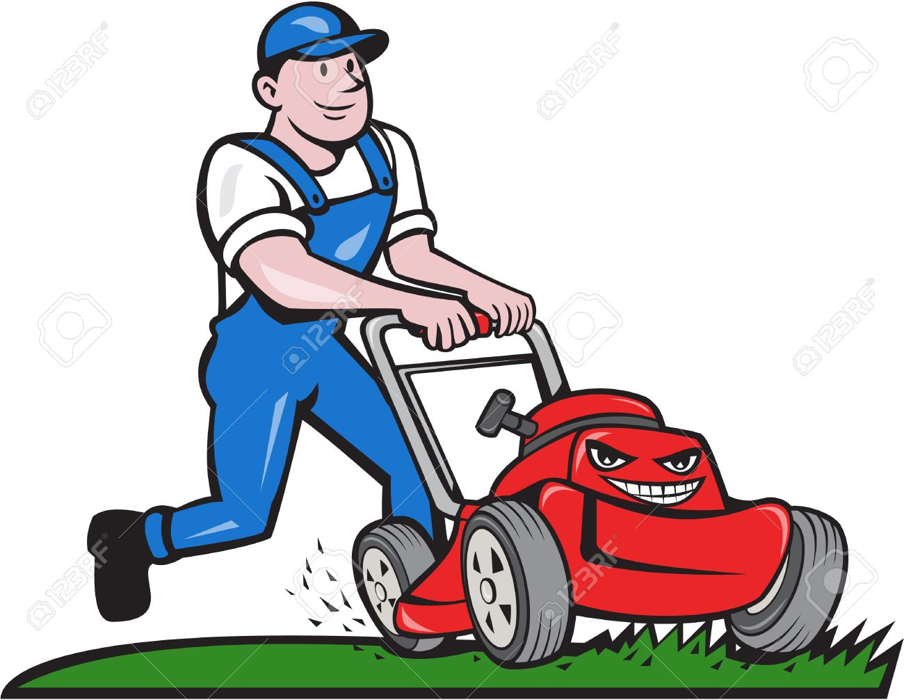 Illustration of a gardener wearing hat and overalls with lawnmower...