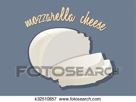 Italian mozzarella cheese. Vector illustration Clip Art.