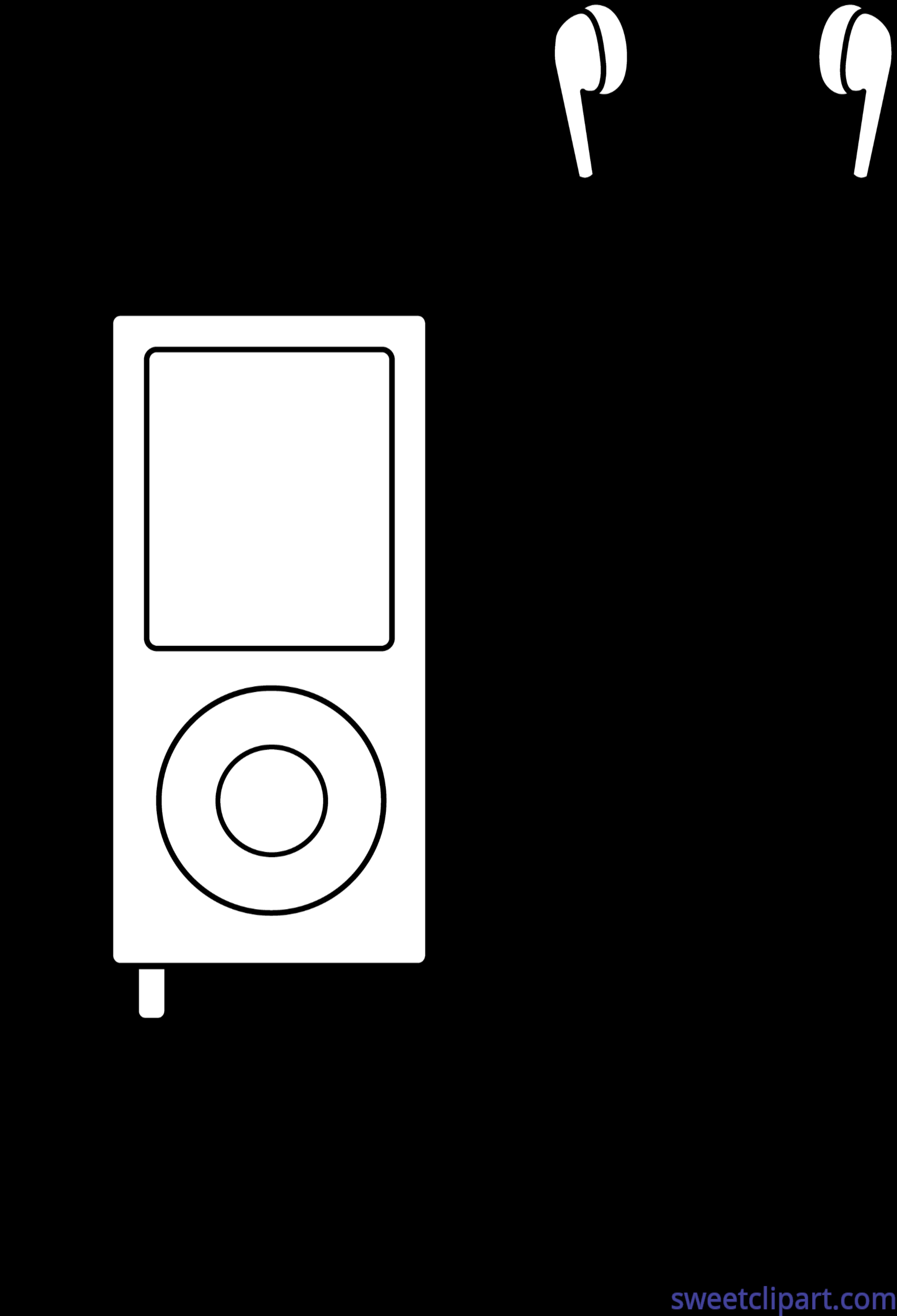Mp3 Player Lineart Clip Art.