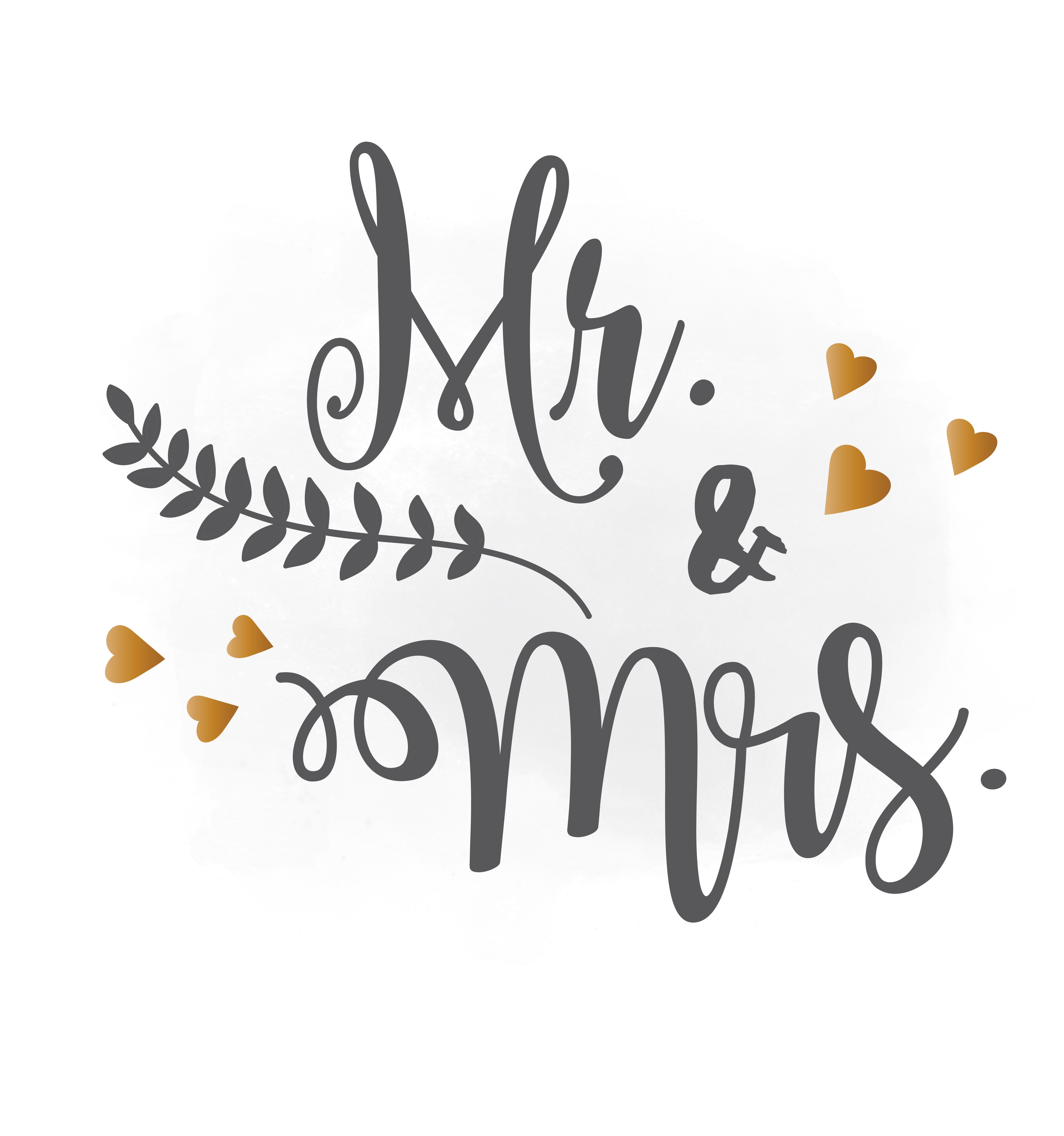 Mr and Mrs SVG clipart, wedding announcement.