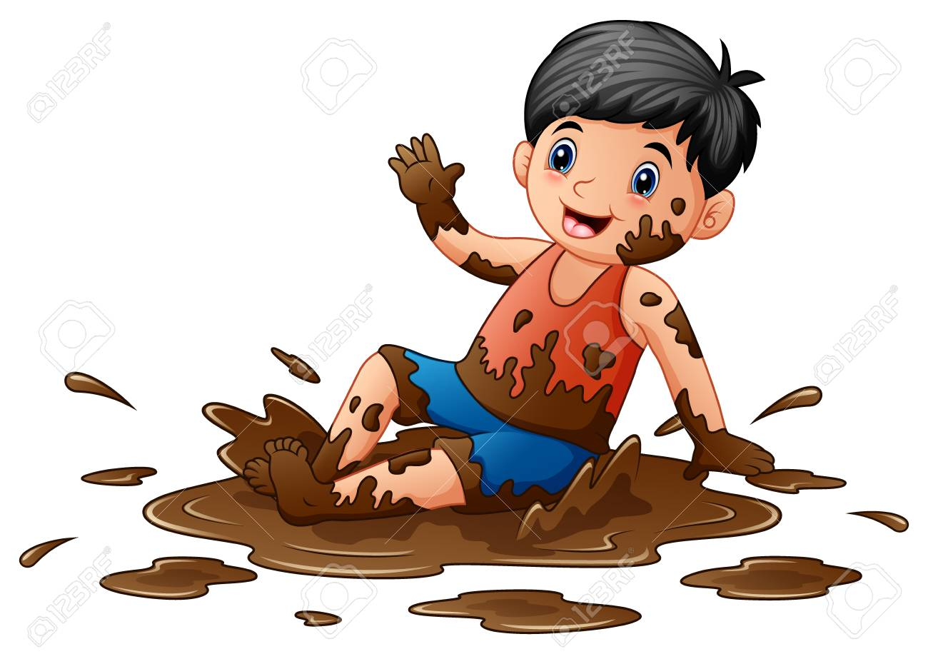 Vector Illustration Of Little Boy Playing In The Mud Royalty Free.