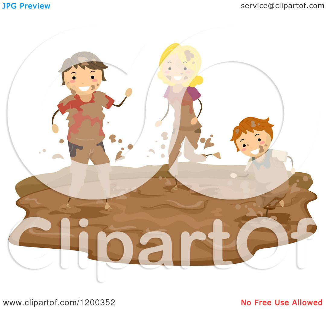 Cartoon of a Happy Boy and Parents Playing in a Mud Puddle.