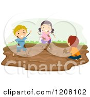 Clipart of a Mud Puddle with Shoe Prints.