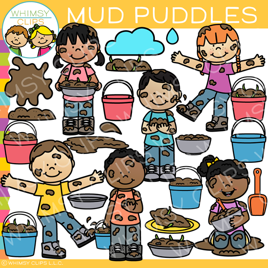 Kids Playing in Mud Clip Art.