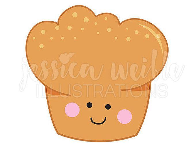Happy Muffin Cute Digital Clipart, Muffin Clip art, Bread Baking.