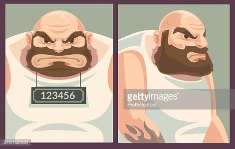 Criminal mug shot. Vector flat cartoon illustration Clipart.