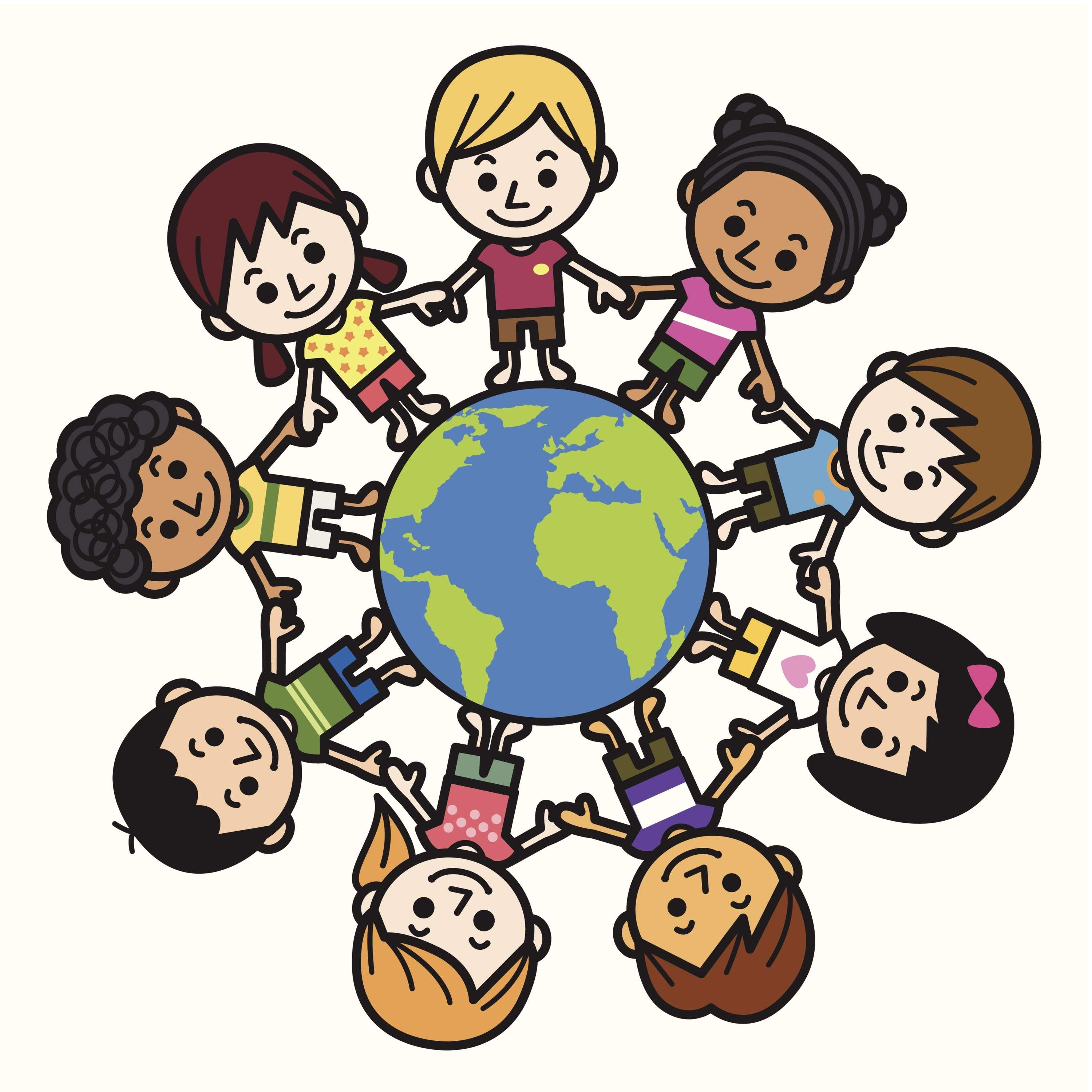 Happy Smiling Multicultural Kids Around The World Clipart.