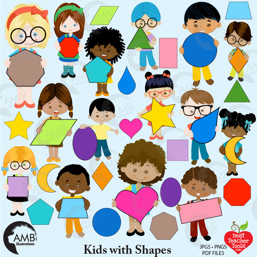 Classroom Clipart, Multicultural Kids Clipart with Geometric Shapes,  AMB.