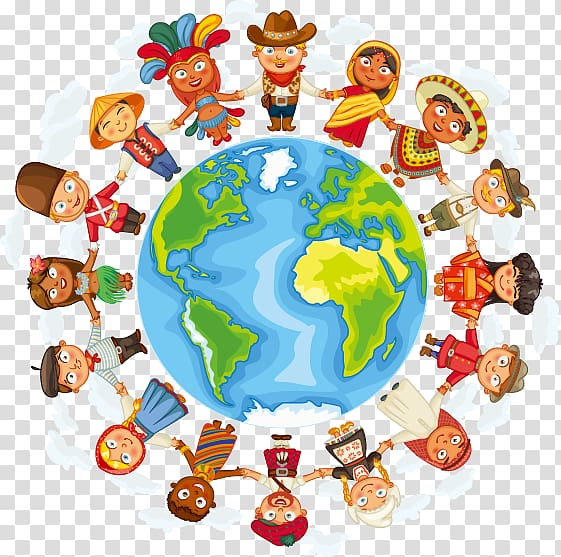 Illustration of earth surrounded by people, Culture Cultural.