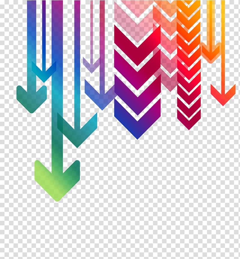 Arrow heads illustration, Multiple Arrows Down transparent.
