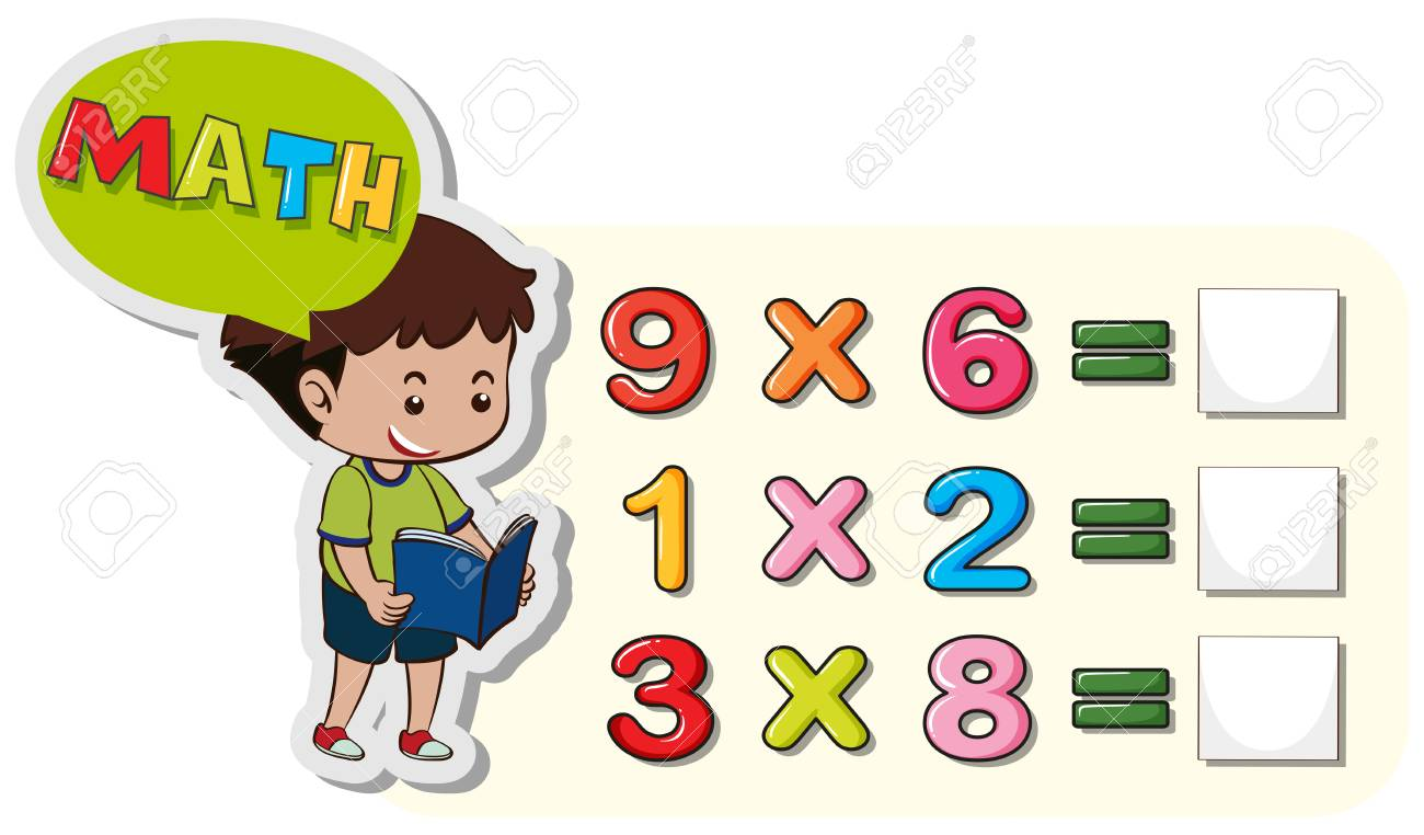 Math worksheet template with boy and multiplication problems...