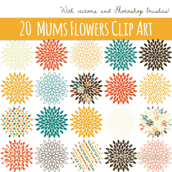CLIP ART: Starburst Flowers // Mums // Vector & PNG.