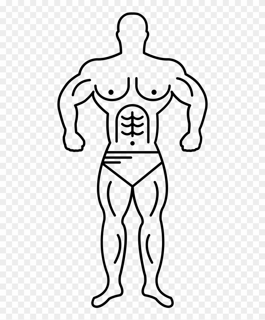 Muscle Man Line Art Vector Png.