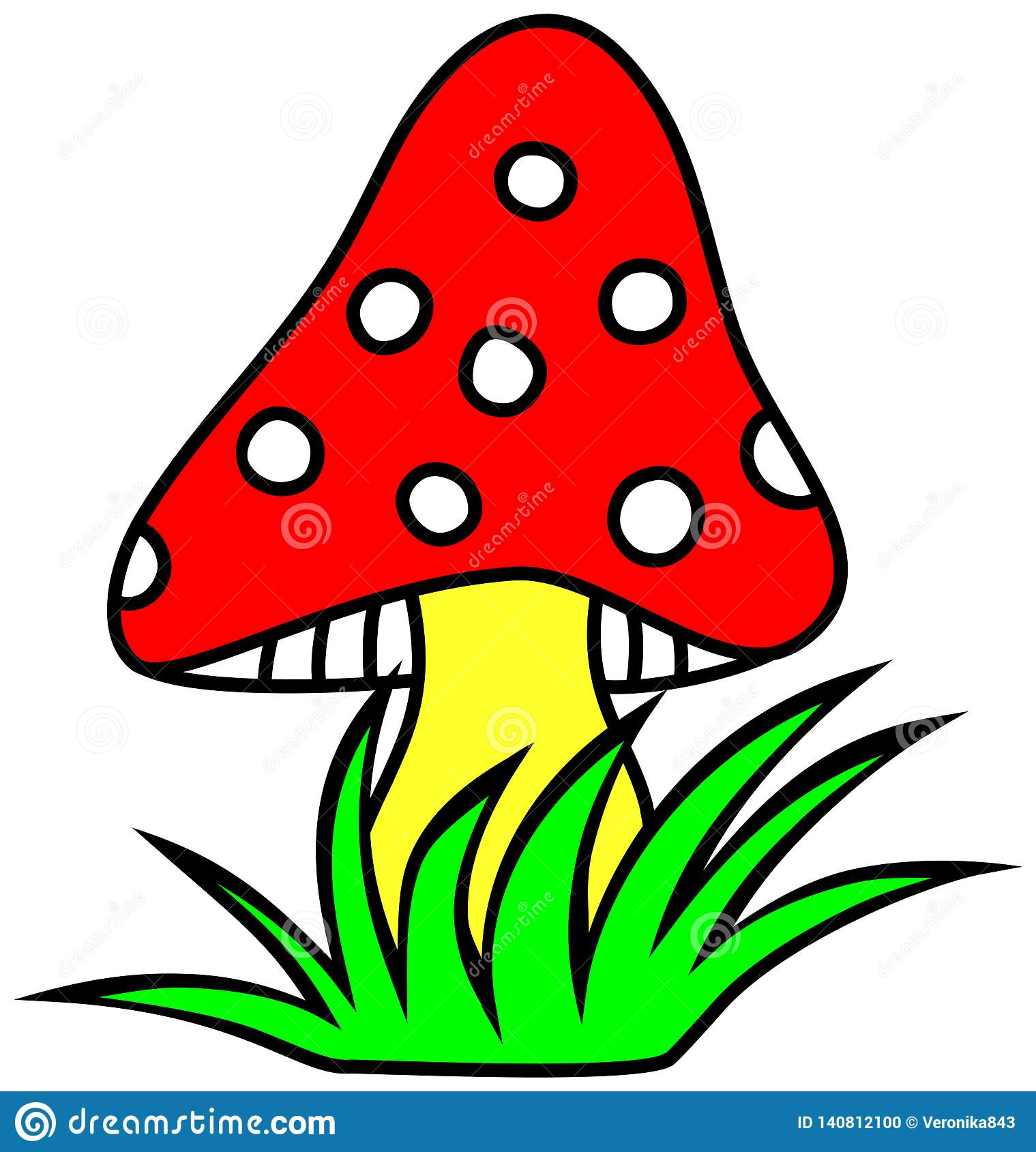 Mushroom Clipart. Sponge With A Red Hat. Stock Vector.