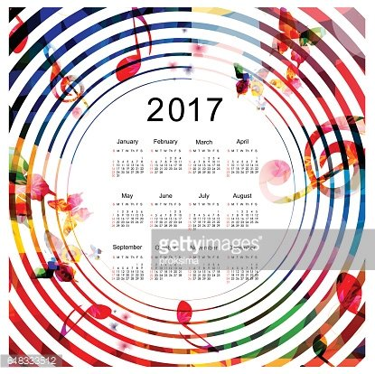 Calendar planner 2017 design template with colorful music.