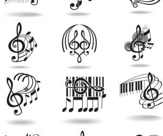 Notes, music staff and treble clef vector.