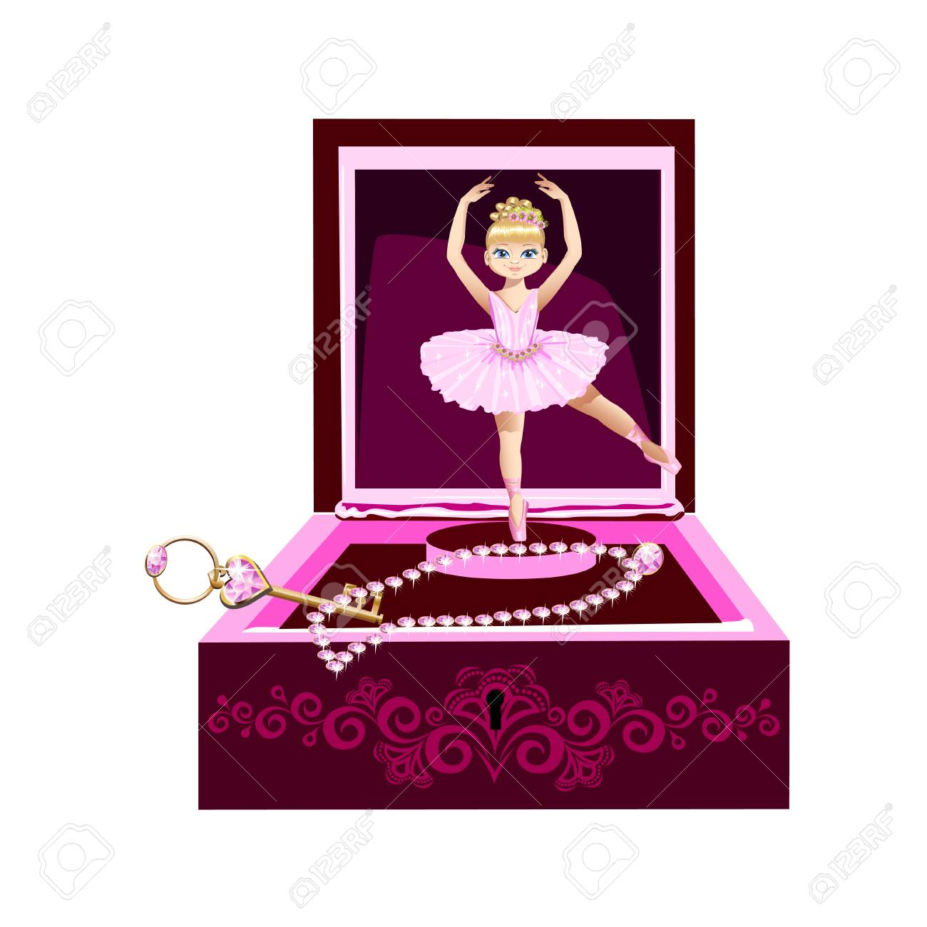 music box for jewelry with a ballerina. Vector illustration..