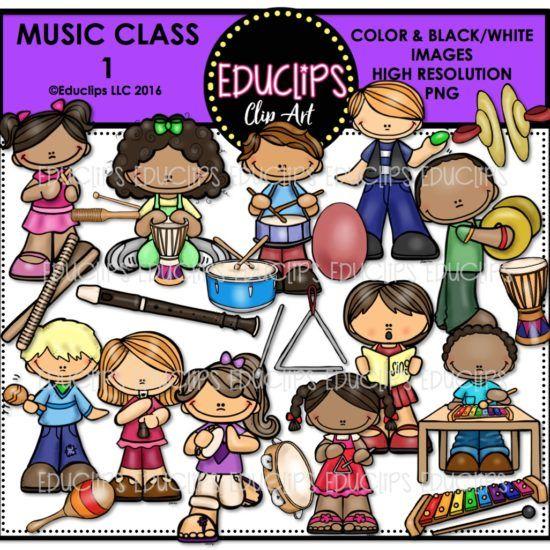 Music Class 1 Clip Art Bundle (Color and B&W).