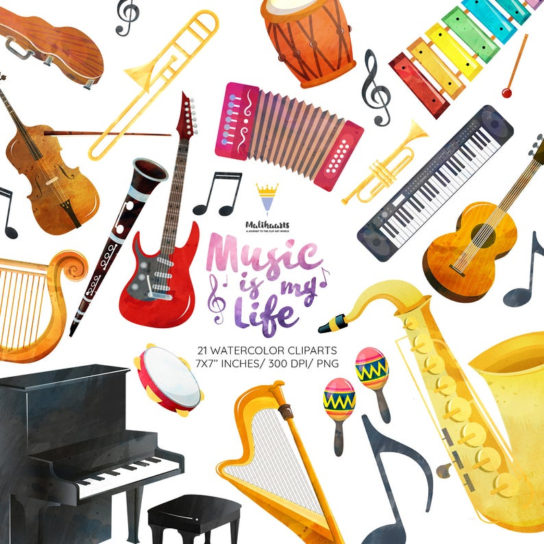 Musical instruments clipart, Music clipart, orchestra clipart, piano  clipart, music notes clipart, violin, guitar, Instant download, PNG.