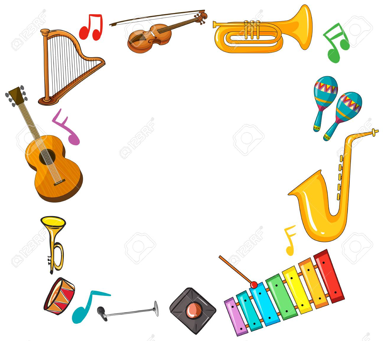 Border template with musical instruments illustration.