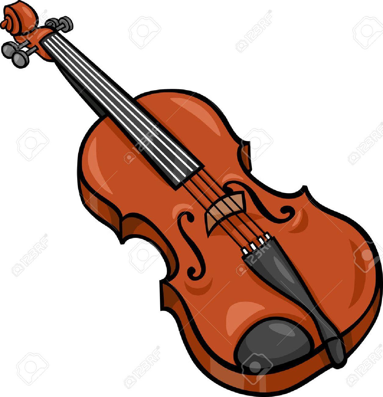Cartoon Illustration of Violin Musical Instrument Clip Art.