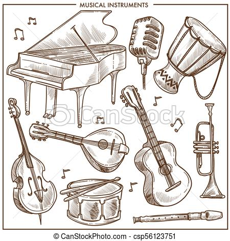 Musical instruments vector sketch icons collection for folk or jazz  classical music.