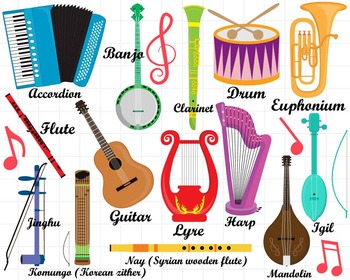 36 PNG/JPG Musical Instruments ClipArt Set 1.