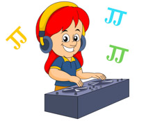 Girl Playing Music Clipart.
