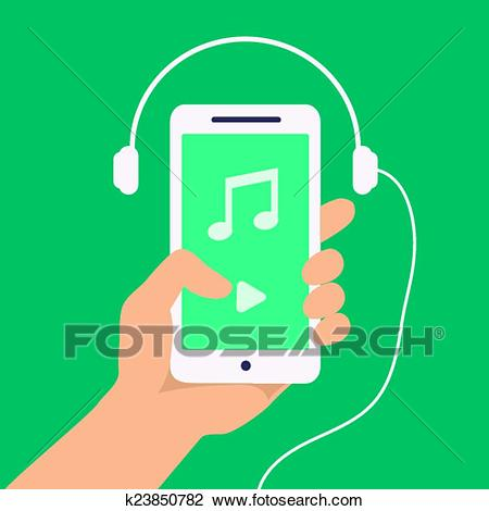Vector hand and smartphone with music player app Clipart.