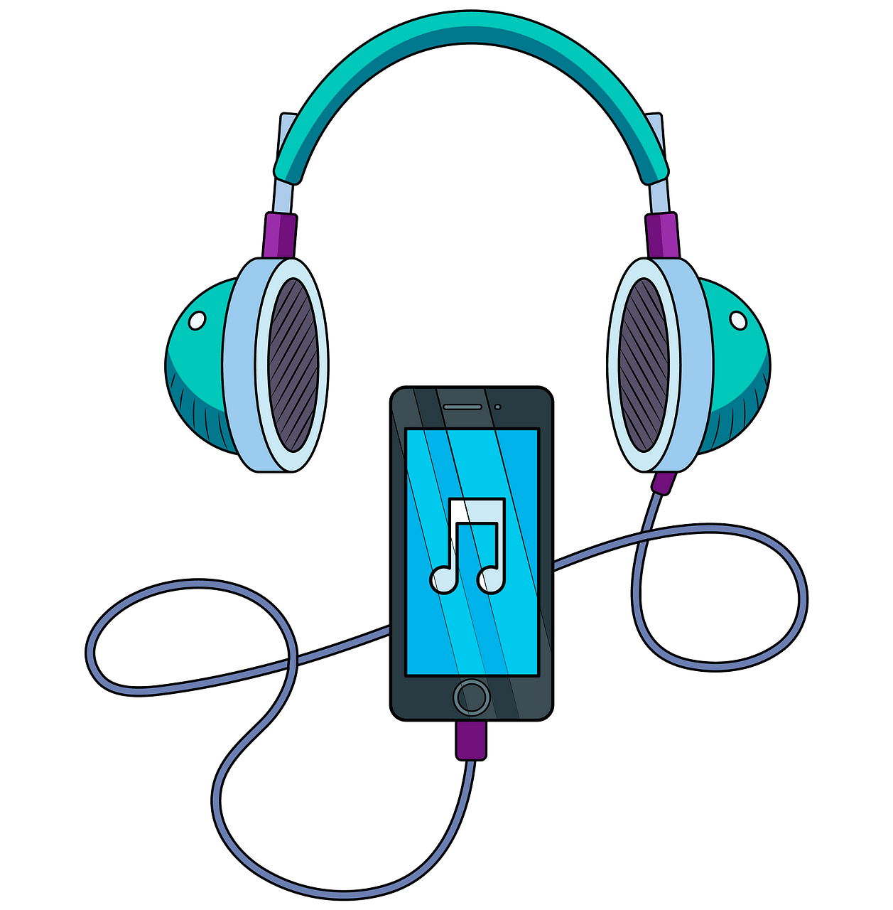 Music player and headphones clipart. Free download..