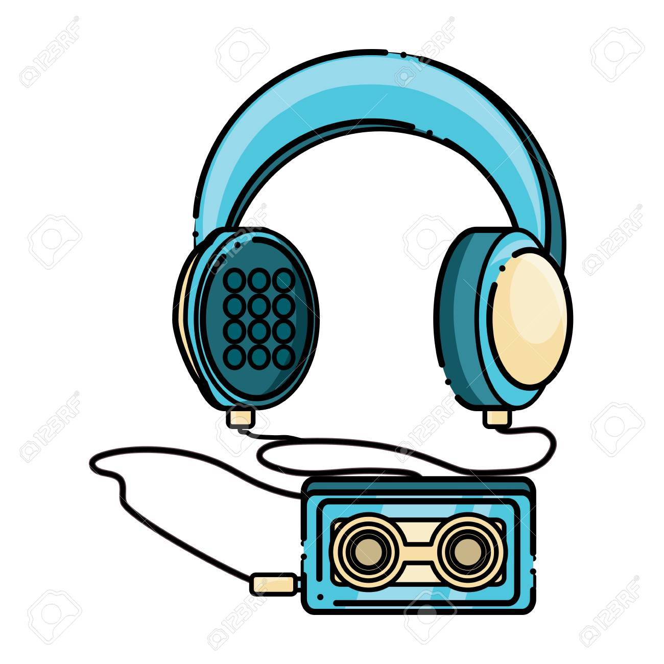 Headphones with cassette music player icon over white background,...