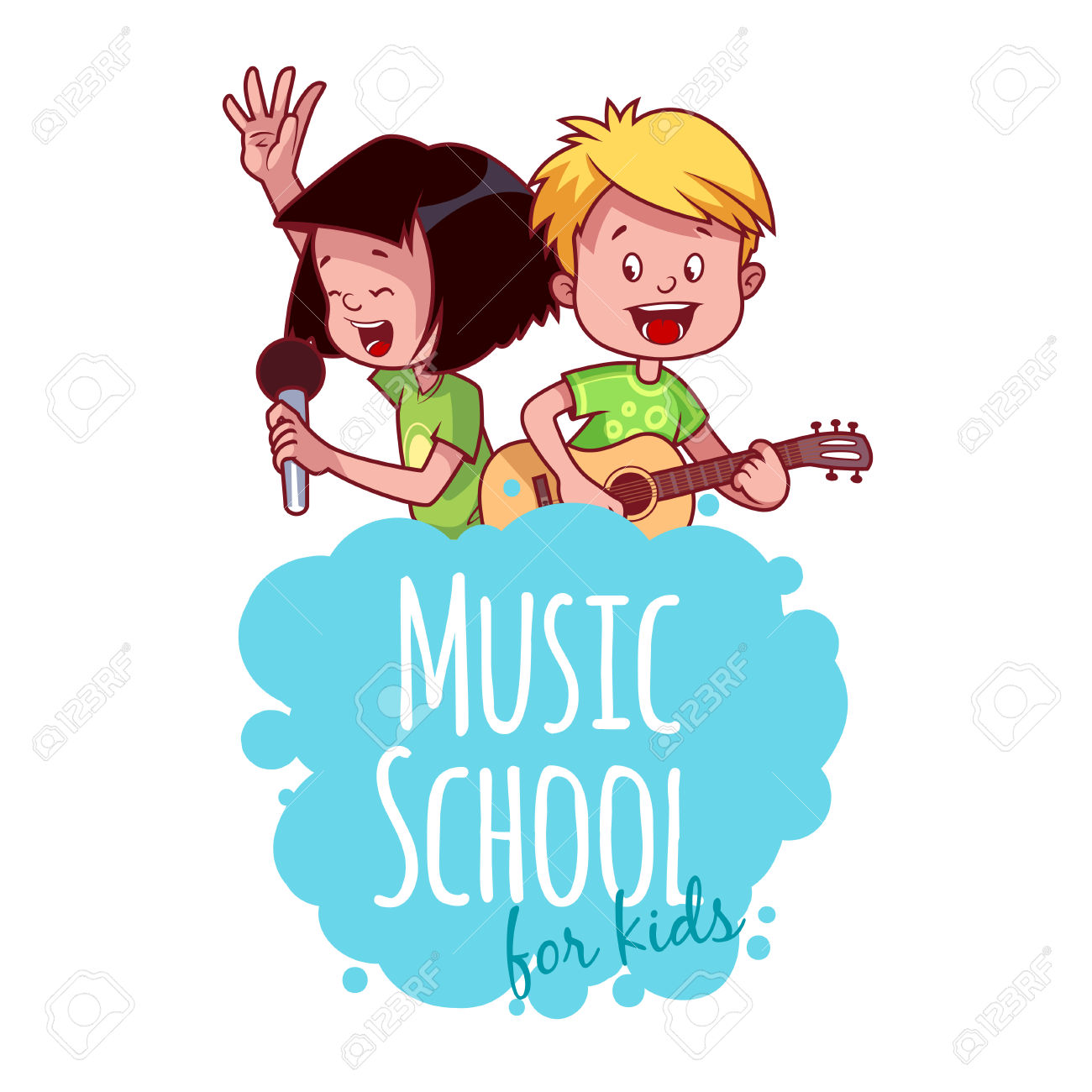 Logo Template For Music School With Two Children. Vector Clip.
