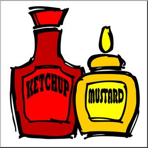Clip Art: Condiments: Mustard & Ketchup Color I abcteach.com.