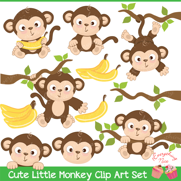 Cute Little Monkey Clipart.