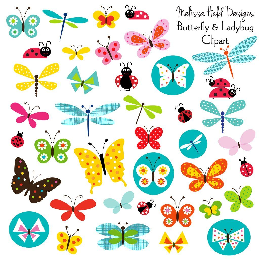 Butterflies and Ladybugs Clipart.