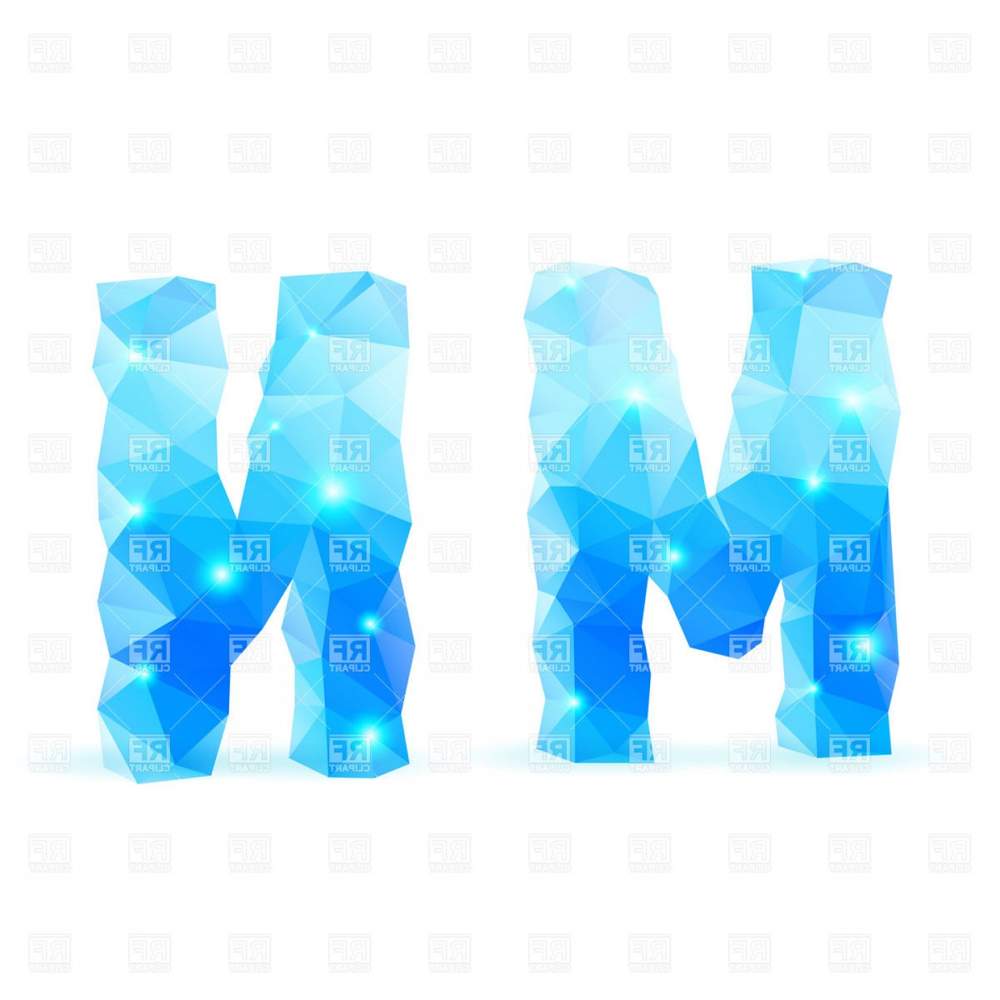 Blue Crystal Style Font M And N Letters Vector Clipart.