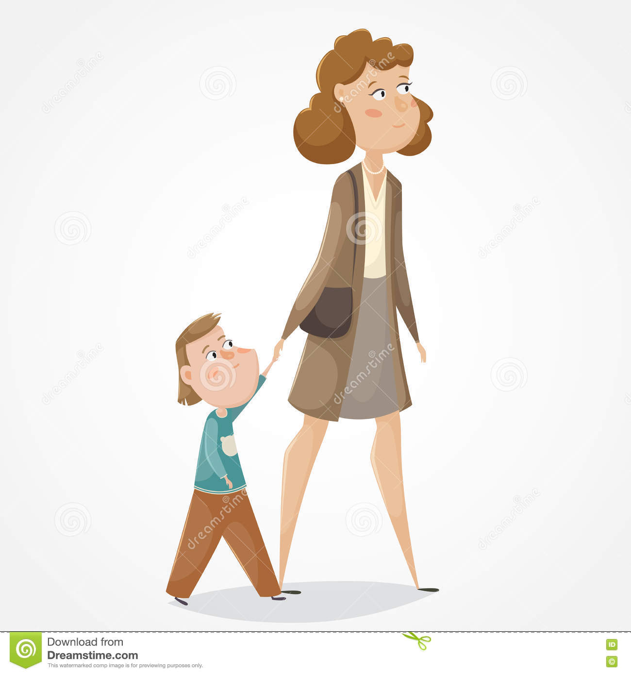 Mother And Son Walking Clipart.